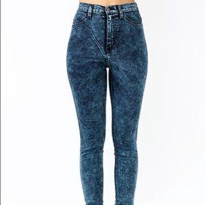 H&M High-Waisted Acid Wash Jeans